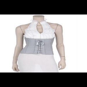 Grey and White Corset Style Blouse